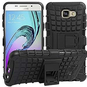 Original Rapid Zone Stylish Kick Stand Spider Hard Dual Rugged Armor Hybrid Bumper Back Case Cover for Samsung Galaxy A7 2016 (A710) - Black