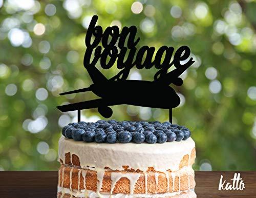 Holz-Kuchenaufsatz Bon Voyage, Bon Voyage Party, Go Away Party, Abschied Party, Goodbye Party, Reise Mottoparty, Silhouette