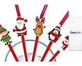 10x coco y Bo de Papá Noel, Rudolf y amigos–Festive Navidad pajitas flexibles–cócteles bebidas MOCKTAIL accesorios fiesta decoraciones de mesa