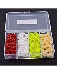 Aorace 101pcs/lot señuelo suave de la caja 4 del cebo Mezclado Color Realista de la lombriz de tierra Worms Cebos suaves incluyendo caja para la pesca