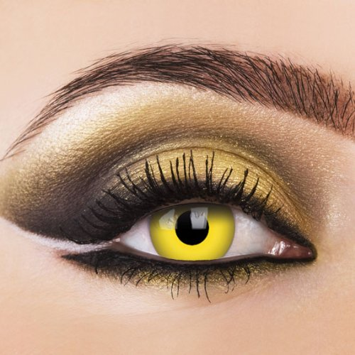n YELLOW Crazy Funlinsen Gelb. Speziallinsen fur Halloween und Party's. Scary contacts 1 paar mit gratis Linsenbehälter. (Scary Kontaktlinsen Für Halloween)