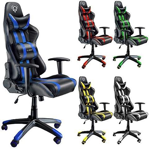 Diablo X-One racing chaise de bureau avec accoudoirs, fauteuil de bureau, siège gaming (bleu/noir)