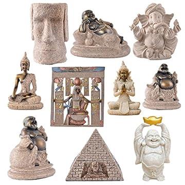 La Figurita Tonalidad De La Piedra Arenisca De Buda Joss Escultura Estatua Tallada A Mano 9