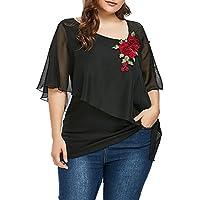 Yusealia Camisetas para Mujer Tallas Grandes, Blusa Sexy Mujer de Verano Blusa de Manga Corta Bordado de la Gasa del Cuello en V Irregular Mujer Camisas Fiesta Camiseta Tops Blusa