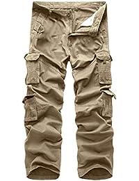 c7e304c56d Rmine Herren Cargo Hose Viele Taschen Baumwolle Freizeithose Loose Fit  Arbeitshose (Ohne Gürtel)