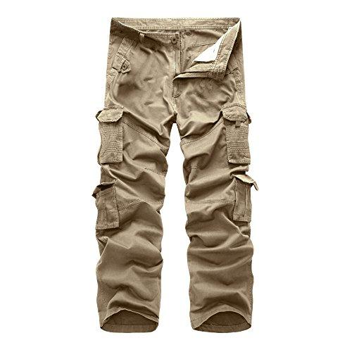 Rmine Herren Cargo Hose Baumwolle Cargopants, Khaki, Gr. 36W - Hose Khaki Herren