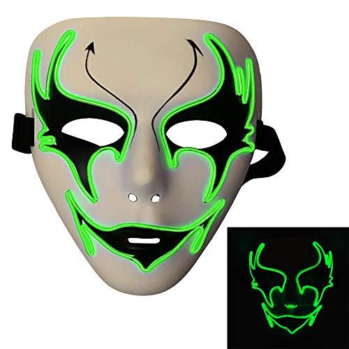 Bonamana Licht leuchten Maske Kostüm EL LED Draht Halloween Maske Tod Grimasse Masken Masquerade (Leuchtstoff (Grüne Energie Halloween Kostüm)