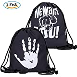 ZWOOS 2PCS Sportiva a Tracolla Gym Sack Unisex Stampa Tela Borsa per Scuola Sport Palestra e Intrattenimento (We Want You)