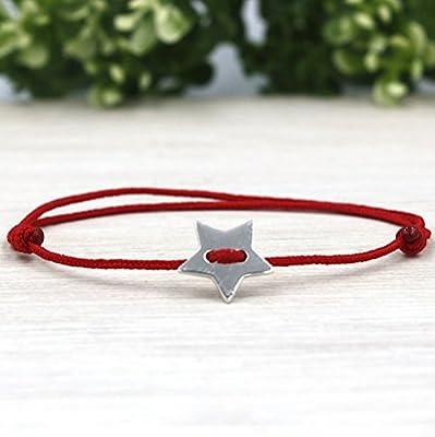 bracelet cordon argent 925 bouton étoile