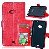 Lumia 625 Custodia in PU Pelle, [Cavo gratuito] FUBAODA Portafoglio Flip Chiusura Magnetica Protettiva Cover Case per Microsoft Nokia Lumia 625 (625H) (rosso)