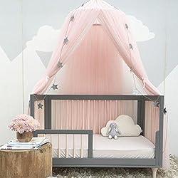 Uarter Ciel de lit Enfant Décoration de Chambre D'enfant en Forme de Dôme, Fille Garçon Maison de Jeux, Moustiquaire pour lit Enfants, Rose