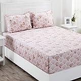 Maspar Superfine 210 TC Cotton Double Bedsheet with 2 Pillow Covers - Geometric, Pink (PN31951)