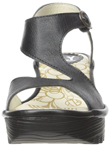 FLY London Yanca Sandali con Zeppa, Donna Nero (Mousse Black)