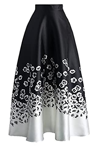 New Ladies Black & White Floral Print High Waist Flared