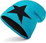 Balinco Warme Feinstrick Beanie Mütze mit Stern sehr weichem Innenfutter, Unisex (Turquoise (Black Star))