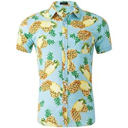 Loveternal Camisa Piña Hombre Camisa Hawaiana Flor Impresión 3D Casual Botón Abajo Manga Corta BBQ Camisa Verde XXL