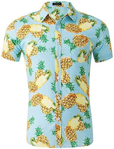 Loveternal Hawaii Hemd Ananas Herren 3D Druck Cooler Grafik Kurzarm Hawaii Shirt Freizeit Bunte Hemden M