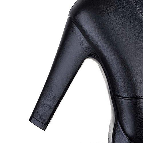 VogueZone009 Femme Rond Haut Demi à Talon Haut Couleur Unie Pu Cuir Bottes Noir