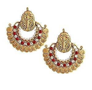 Two Toned Stone & Metal Indian Goddess Lakshmi Motif Earrings Jhumkas Indian Jewellery for Women & Girls