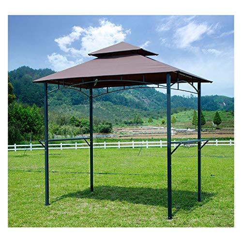 GOJOOASIS Grill Himmel Zelt Outdoor 2-stufig BBQ Grill Pavillon Zelt Kaffee Shelter Geschenkpapierrolle 244cm