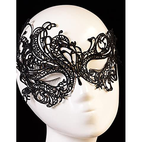 ZY/nero sexy lady Lace Cutout Occhi Maschera per Masquerade Party Fancy Dress Costume, White