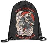 HRTSHRTE Drawstring Bags Samurai Shark The Ground is My Ocean Shoulder Bags...