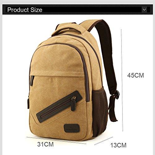 Yoome canapa di zaino 14 pollici del computer portatile Dayback di corsa di college che fa un'escursione di campeggio con il porto di ricarica del USB Sacchetto di alpinismo di alpinismo - cachi Cachi