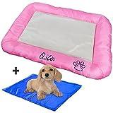 Hundebett mit Kühldecke (pinkes Bett + blaues Pad)