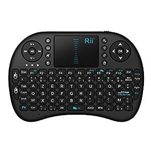 Rii Mini i8 Wireless (AZERTY) - Mini Clavier Française Ergonomique sans Fil avec Touchpad - Pour Smart TV, mini PC, HTPC, Console, Ordinateur