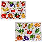 2 juegos de rompecabezas de Pegged, aprendizaje de juguetes preescolares para niños de más de 3 años de edad (frutas y verduras)