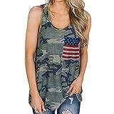 VIMOW Sommer Heißer Cool Damen Damen Camouflage Tops Weste Tank Casual Tägliche Mode Bluse Freizeit Flagge Druck Sleeveless T-Shirt Pullover Pulli(Grün, EU-40/CN-M)