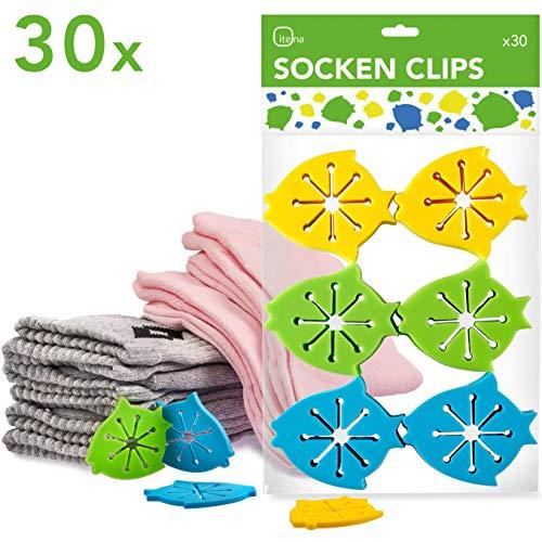 itena Socken-KlammernTM für Waschmaschine und Trockner (30 Stück) | Sockenclips mit Leichter Anbringung | Sockensortierer aus Silikon