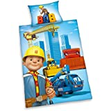 Herding 2462201063412 Bob der Baumeister Bettwäsche, Baumwolle, blau, 100 x 135 x cm