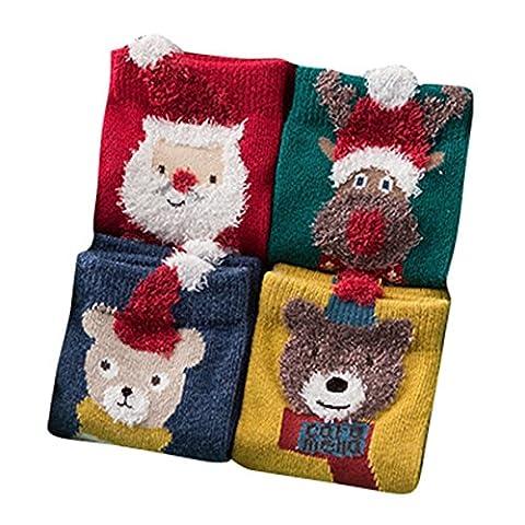 Baby Kinder Weihnachtssocken - Socken Baumwolle Söckchen Warm Weihnachten Junge Mädchen Set Elche & (Weihnachten Sankt Bären)