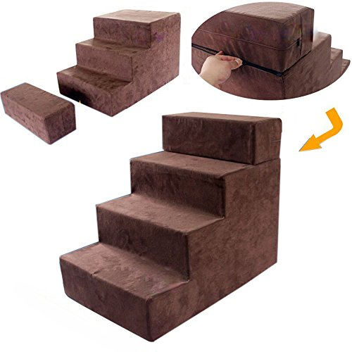 toparchery Pet Dog Stairs to get on High Bed Foldable Easy 4 Steps Washable Cover Dogs Cats - Best Small Pets … (3+1 step (brown))