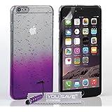 Yousave Accessories Regentropfen cover mit Mini Stylus Eingabestift für iPhone 6Plus–violett/transparent