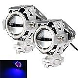 LARS360® Motorrad LED Zusatzscheinwerfer Beleuchtung Scheinwerfer U7 Nebel Lampen Angel eyes mit Schwarz/Silber/Blau Aluminium Legierung Shell Wasserdicht Blau-licht/ Rot-licht Spotlight (Silber- Blau Licht)