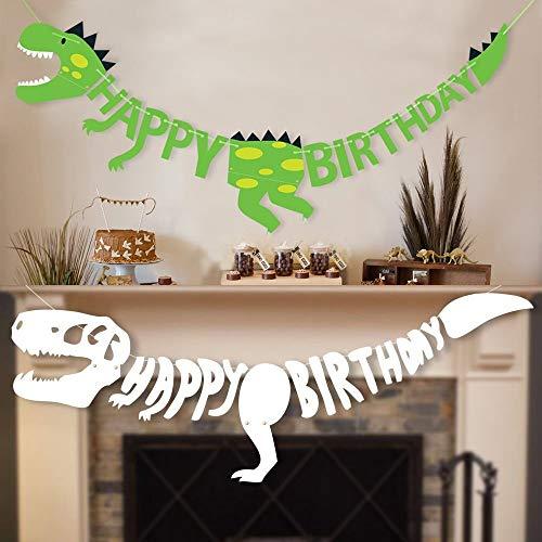 stag Dinosaurier Happy Birthday Girlande, Party Dekorationen Banner, Dino Geburtstags Dekoration, Partyzubehör Dekoration für Geburtstagsdeko Partyset ()