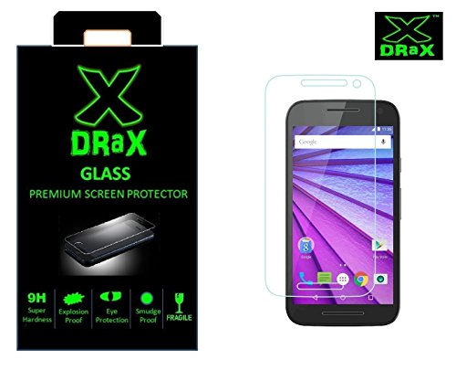 Drax (TM) for Motorola [ 3rd Generation Moto G3 ]/[ Moto G Turbo Edition ] Round Curved 2.5D Edge 9H Hardness Toughened Tempered Glass Screen Guard Protector (2015 Model/Dual SIM Version)