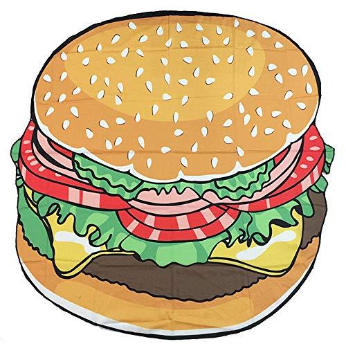JUNMAONO Obst Serie Runde Donut Burger Strandtücher,Portable Stranddecke,Strandtuch,Badehandtuch,Strandmatte,saugfähig,schnelltrocknend,Reisen,Fitness,Sport & Freizeit (150 * 150cm, 2)