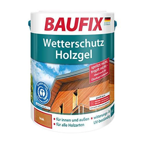 BAUFIX Wetterschut z-Holzgel Teak, Holzlasur, Holzschutz für alle Holzarten, seidenglänzend, für innen & außen
