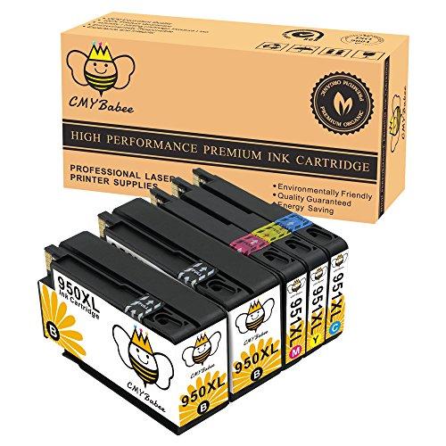 Preisvergleich Produktbild CMYBabee 5-Pack Hohe Ausbeute Ersatz für HP 950XL 951XL 950 951 XLTintenpatrone (2 Schwarz, 1 Blau, 1 Rot, 1 Gelb) mit neuem Chip Kompatibel für Officejet Pro Plus 8600 8610 8620 8100 8625 8630 8640 8660 251dw 276dw