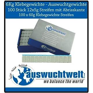 100 Stück Auswuchtgewichte Klebegewichte 6Kg für Alufelgen, Stahl/verzinkt und zzgl. Kunststoffbeschichtet, inkl. Abrisskante und Bluetape
