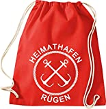ShirtInStyle Gym Sack Turnbeutel Heimathafen Anker Rügen Farbe Rot