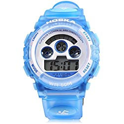 Leopard Shop HOSKA H001B Children Sports Wristwatch LED Digital Watch Day Chronograph Water Resistance Blue