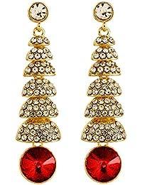Crunchy Fashion Jewellery Gold Plated Stylish Crystal Long Earrings For Girls Fancy Party Wear Earrings For Women