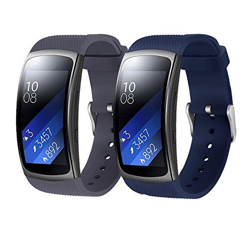 """Rukoy Correas Samsung Gear Fit 2 Band/Gear Fit 2 Pro [Paquete de 2: Blue + Gray], Accesorios para Baterías de Repuesto para Samsung Gear Fit2 Pro SM-R365/Gear Fit2 SM-R360 Smartwatch (5.9\""""-7.5\"""")"""