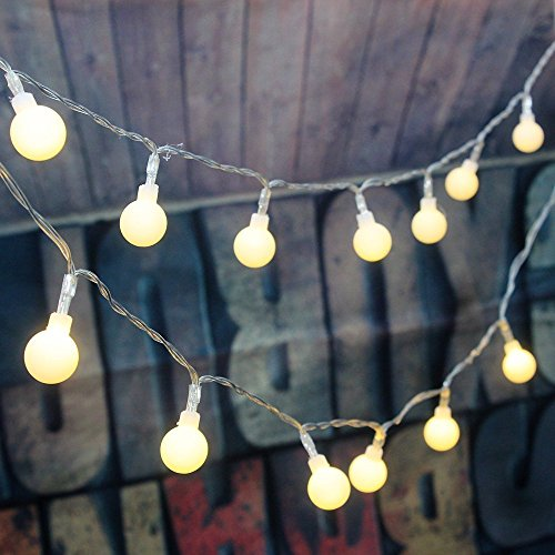 Image of [Remote & Timer] 5 Meter 50 LED Outdoor Globe String Lights 8 Modes Battery Operated Frosted White Ball Fairy Light (Warm White)