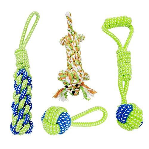 Hundespielzeug, Raffaelo Haustier Hund Seil Spielzeug Baumwolle Seil Hund Tug Krieg Seil Spielzeug Set Dental Zähne Reinigung Chew Spielzeug für Kleine und Mittlere Hunde - Packung mit 4 PCS