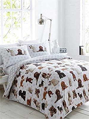 Cute Dogs Single Duvet Quilt Cover & 1 Pillowcase Bedding Bed Set Stars - inexpensive UK light shop.